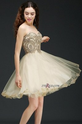 Lovely Sweetheart Short Appliques Lace-Up Homecoming Dress UK_3