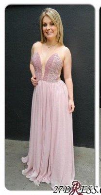 Newest Sleveless Charming V-neck Chiffon Floor-length Prom Dress UK_2