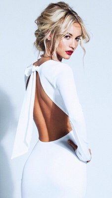Sexy Backless Bowknot White Homecoming Dress UK Long Sleeve Short Prom Gown_1