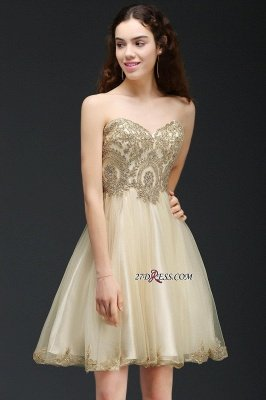 Lovely Sweetheart Short Appliques Lace-Up Homecoming Dress UK_6