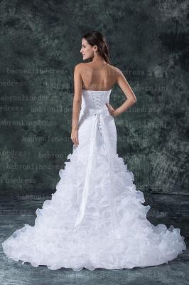 Hot New Wedding Dresses UK Sale Elegent Sweetheart Ruffles Organza Sash Hand Made Flower Beads Sexy Mermaid_5