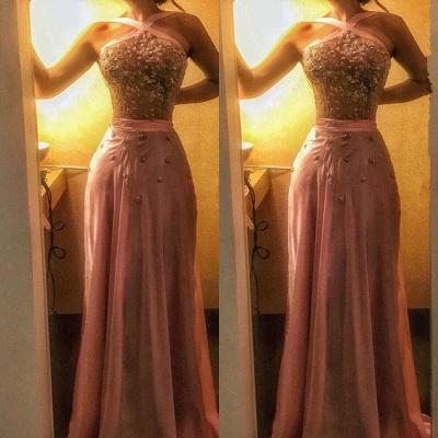 Halter Crystal Evening Dress UK   Mermaid Pink Prom Dress UK On Sale_3