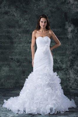 Hot New Wedding Dresses UK Sale Elegent Sweetheart Ruffles Organza Sash Hand Made Flower Beads Sexy Mermaid_1