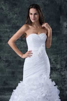 Hot New Wedding Dresses UK Sale Elegent Sweetheart Ruffles Organza Sash Hand Made Flower Beads Sexy Mermaid_2