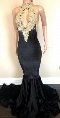 Black High-Neck Prom Dress UK | Lace Appliques Party Gowns On Sale_1