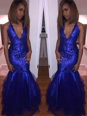 Sequins Royal Blue Prom Dress UK | Mermaid V-Neck Party Gowns_1