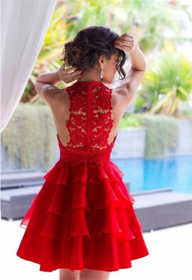 Elegant Red Lace Sleeveless Homecoming Dress UK Short Layers Cocktail Gowns_4
