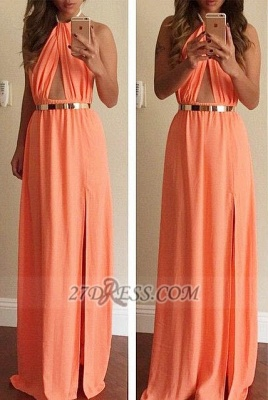 Classic High Neck Sleeveless Long Prom Dress UK With Front Split And Golden Sash_1