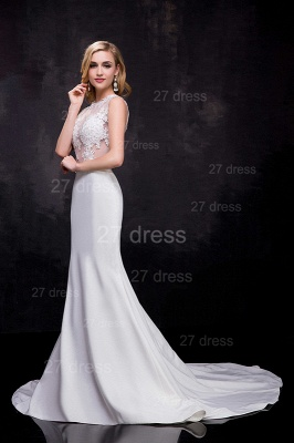 Lace Appliques Sexy Mermaid Wedding Dress Sweep Train_2
