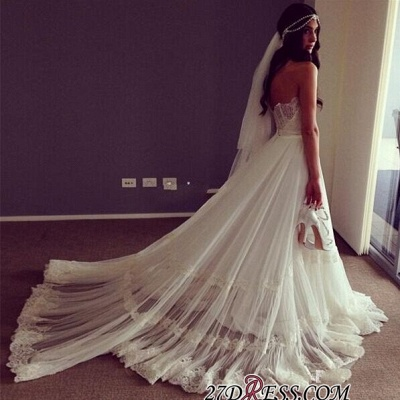 Lace Strapless Sleeveless A-line Chic Sweep-train Wedding Dress_1