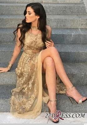 Gold Side-Slit High-Neck Long-Sleeves Elegant Appliques Tulle Prom Dress UKes UK BA8499_2