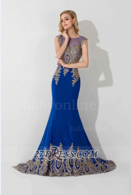Elegant Illusion Cap Sleeve Mermaid Prom Dress UK Royal Blue Floor-length Appliques Evening Gown_2