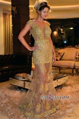 Elegant SHeer Skirt Prom Dress UK Mermaid V-Neck With Gold Appliques_1