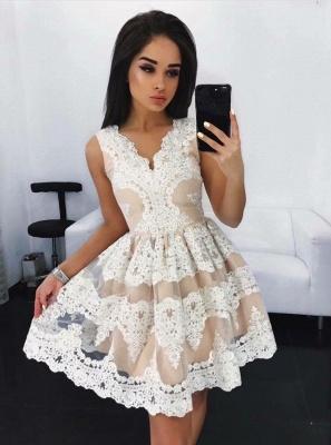 Lovely Lace Homecoming Dress UK Short Sleeveless Party Dress UK On Sale_1
