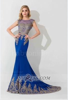 Elegant Illusion Cap Sleeve Mermaid Prom Dress UK Royal Blue Floor-length Appliques Evening Gown_4