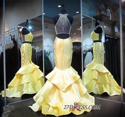 Ruffles Mermaid Zipper Luxury Crystals Sleeveless Halter Yellow Evening Gown_2