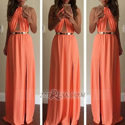 Classic High Neck Sleeveless Long Prom Dress UK With Front Split And Golden Sash_2