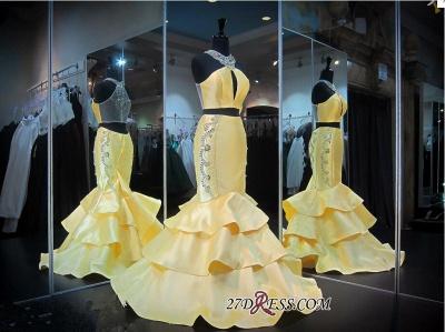 Ruffles Mermaid Zipper Luxury Crystals Sleeveless Halter Yellow Evening Gown_1