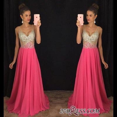 V-Neck Gorgeous A-Line Crystal Sleeveless Elegant Chiffon Prom Dress UK_1