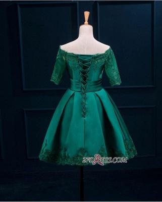 Lace Green Short Appliques Charming Half-Sleeve Homecoming Dress UK BA3856_5