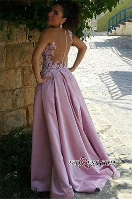 Pink Delicate Buttons Sleeveless A-Line Appliques Prom Dress UK_2