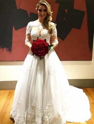 Gorgeous Long Sleeve Lace Wedding Dress Princess A-line_1