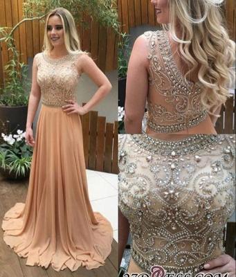 Chiffon Champagne Crystals-Beaded A-line Luxury Long Prom Dress UKes UK_1