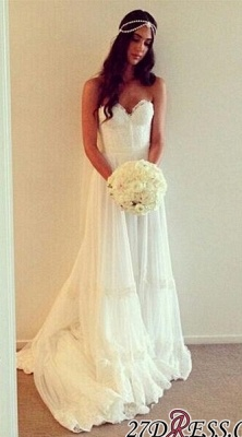 Lace Strapless Sleeveless A-line Chic Sweep-train Wedding Dress_3