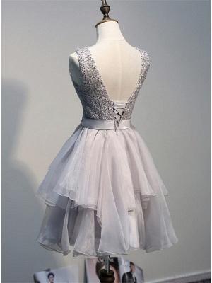 Sexy Lace Mini Bow Homecoming Dress UK Sleeveless Lace-up_3