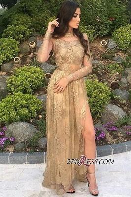 Gold Side-Slit High-Neck Long-Sleeves Elegant Appliques Tulle Prom Dress UKes UK BA8499_3