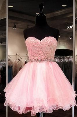 Modest Pink Flowers Crystals Homecoming Dress UK Mini Sweetheart Zipper_1