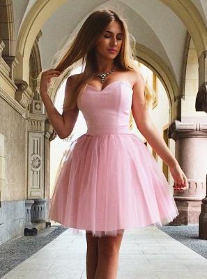 Sweetheart Pink Homecoming Dress UKes UK | A-Line Sleeveless Cocktail Dress UKes UK_1