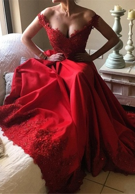 Off-the-Shoulder Red Prom Dress UKes UK | Lace Evening Gowns BA9340_4