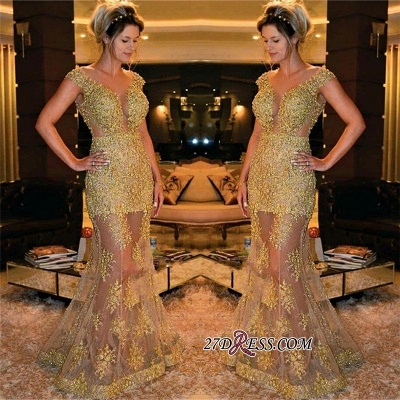 Elegant SHeer Skirt Prom Dress UK Mermaid V-Neck With Gold Appliques_2