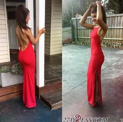 Floor-length Sleeveless Red Newest Split Spaghetti-Strap Prom Dress UK BA5070_2