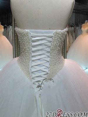 Sweetheart Pearls Princess Ball-Gown Elegant Tulle Wedding Dress_1