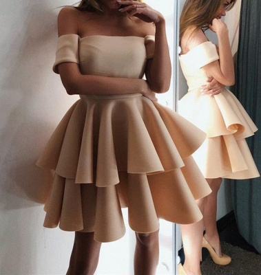 Luxury Short-Sleeve 2019 Homecoming Dress UK | Layers Mini Party Dress UK On Sale_3