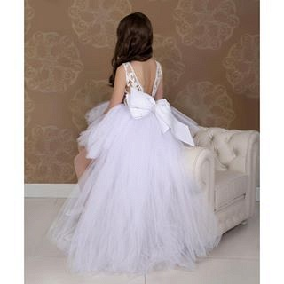 Lovely White Hi-Lo Tulle Flower Girl Dress Sweep Train Jewel_3