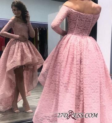 Zipper Bateau Long-Sleeves Hi-Lo Prom Dress UK_1