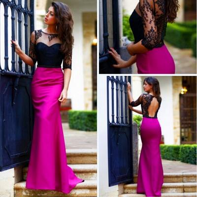 Sheath Long Black Lace Prom Dress UK with Elegant Half Sleeves_5