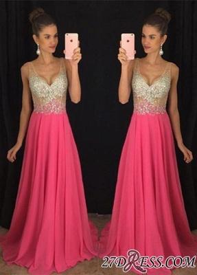 V-Neck Gorgeous A-Line Crystal Sleeveless Elegant Chiffon Prom Dress UK_2