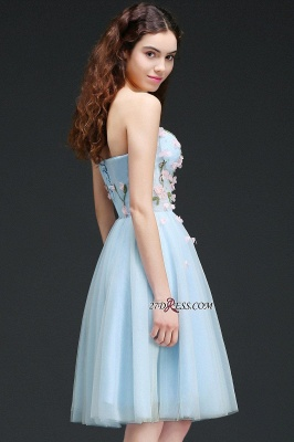 Embroidery Flowers Luxury Sweetheart Lace-Up Tulle Short Homecoming Dress UK_1