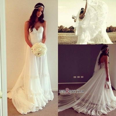 Lace Strapless Sleeveless A-line Chic Sweep-train Wedding Dress_2