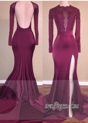 Burgundy Appliques Backless Mermaid Side-Slit Long-Sleeves Prom Dress UK qq0272_3