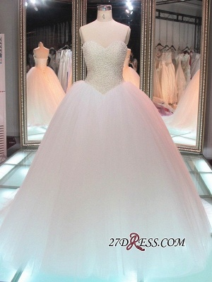 Sweetheart Pearls Princess Ball-Gown Elegant Tulle Wedding Dress_2