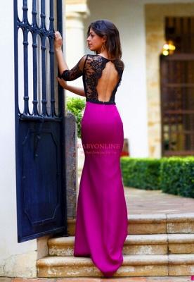 Sheath Long Black Lace Prom Dress UK with Elegant Half Sleeves_3