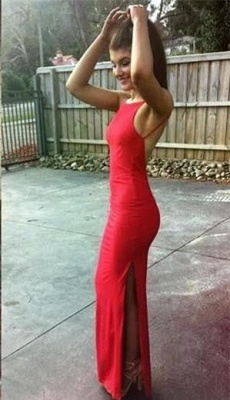 Floor-length Sleeveless Red Newest Split Spaghetti-Strap Prom Dress UK BA5070_1