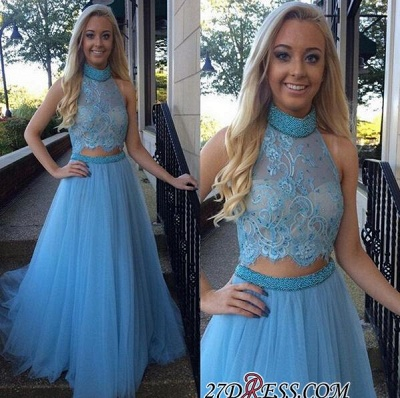 High-Neck Gorgeous Two-Pieces Tulle A-Line Beadings Prom Dress UK_1