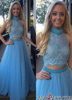 High-Neck Gorgeous Two-Pieces Tulle A-Line Beadings Prom Dress UK_2