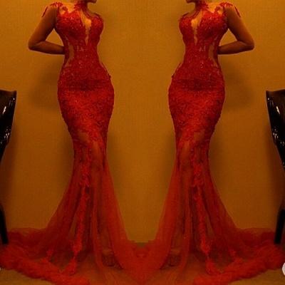 Luxury Red Mermaid Evening Dress UK   Lace Prom Dress UK On Sale_3
